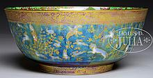 WEDGWOOD FAIRYLAND LUSTRE HARES, DOGS AND BIRDS BOWL.