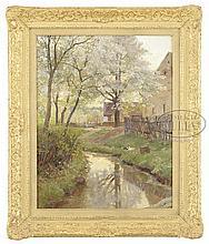 HUGO DARNAUT (Germany/Austria, 1851-1937) THE DUCK POND IN SPRING