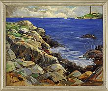 HENRY J. BILLINGS (American, 1894-) ROCKPORT COAST WITH THATCHER'S ISLAND