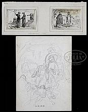 THREE UNFRAMED DRAWINGS AND AN ENGRAVING