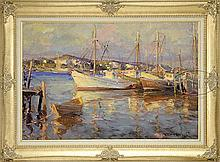 ROBERT CHARLES GRUPPE (American, 1944-) GLOUCESTER FISHING BOATS