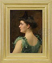 JAMES CARROLL BECKWITH (American, 1852-1917) GIRL IN GREEN