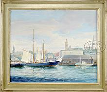 FREDERICK J. HOERTZ (American, 20th Century) SAILING INTO GLOUCESTER HARBOR