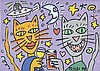 JAMES RIZZI (American, 1950-2011) TWO CATS TOASTING