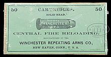 RARE FULL 2ND TYPE WINCHESTER BOX OF 44 WCF CARTRIDGES.
