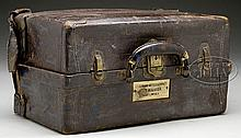LEATHER COVERED PAYMASTER'S CHEST OF LT. EDWARD S. GODFREY, 7TH CAVALRY PAYMASTER UNDER GEORGE ARMSTRONG CUSTER.