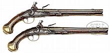 VERY FINE AND RARE PAIR OF LONG LATE 17TH CENTURY ENGLISH FLINTLOCK HOLSTER PISTOLS BY HUMPHREY PICKFATT, CIRCA 1690.