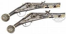 GOOD AND RARE PAIR OF DRESDEN WHEEL LOCK HOLSTER PISTOLS (PUFFERS) CIRCA 1590 WITH ELABORATELY INLAID BALL BUTTS.