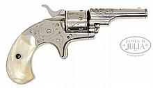 RARE ENGRAVED COLT OPEN TOP SMALL BORE SPUR TRIGGER REVOLVER.