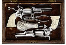 EXTREMELY RARE CASED PAIR OF MODEL 3 1855 SIDEHAMMER ROOT PERCUSSION REVOLVERS.