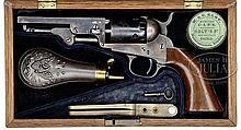 CASED COLT MODEL 1849 POCKET PERCUSSION REVOLVER.