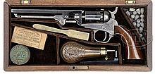 CASED LATE COLT MODEL 1849 POCKET PERCUSSION REVOLVER.
