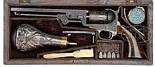 RARE CASED ENGRAVED COLT 3RD MODEL 1851 NAVY PERCUSSION REVOLVER.