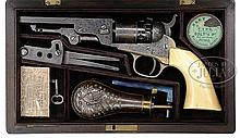 VERY RARE CASED ENGRAVED COLT POCKET NAVY PERCUSSION REVOLVER.