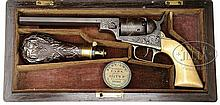 EXTREMELY RARE CASED ENGRAVED COLT BABY DRAGOON PERCUSSION REVOLVER.