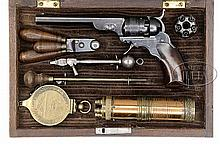 EXTRAORDINARILY RARE CASED COLT PATERSON #1 BABY PERCUSSION REVOLVER WITH 4