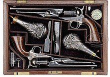 EXTRAORDINARY RARE PRESENTATION DOUBLE CASED SET OF COLT 1860 ARMY AND 1861 NAVY PERCUSSION REVOLVERS PRESENTED TO GENERAL WILLIAM A. THORNTON BY COL. COLT.