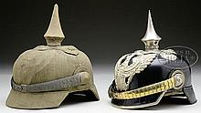 LOT OF TWO PRUSSIAN DRAGOON OFFICER'S HELMETS.