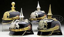 GROUP OF FOUR WURTTEMBERG OFFICER'S HELMETS.