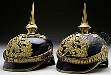 TWO HESSIAN OFFICER'S HELMETS.