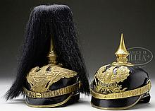 TWO PRUSSIAN 9TH GRENADIER OFFICER'S HELMETS.