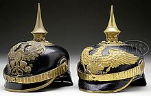 TWO RARE GRENADIER OFFICER'S HELMETS.