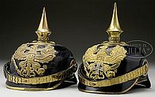 TWO NASSAU/PRUSSIAN OFFICER'S HELMETS.