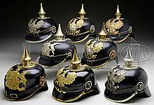 LOT OF EIGHT PRE-WWI ENLISTEDMEN'S HELMETS.
