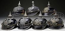 SELECTION OF WWI ERA MODEL 1915 IMPERIAL GERMAN ENLISTEDMAN HELMETS.