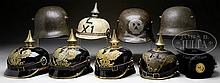 SELECTION OF IMPERIAL GERMAN WARTIME ERA HELMETS.