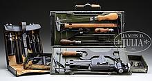 COMPLETE WW2 GERMAN ARMORER'S TOOL KIT IN ORIGINAL METAL CAN PLUS MG-15 TOOL KIT IN LEATHER CASE.