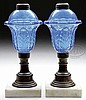 PAIR OF BLUE ACANTHUS LEAF FLUID LAMPS.