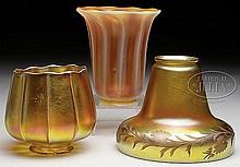 THREE ART GLASS SHADES.