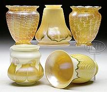 FIVE ART GLASS SHADES.