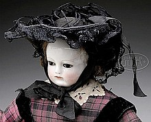 UNUSUAL FRENCH GLASS EYED CHINA FASHION DOLL.