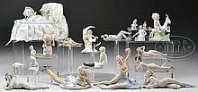 ASSORTED LOT OF 19 BISQUE AND OR PORCELAIN NOVELTY FIGURES.