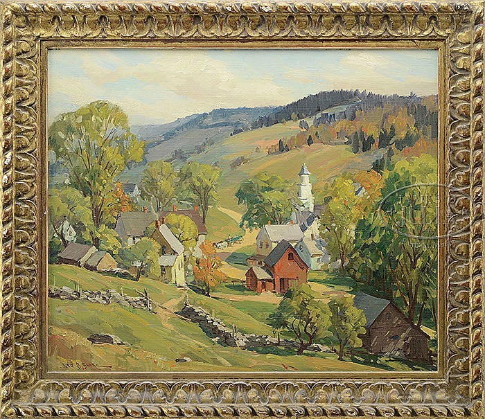 LEO B. BLAKE (American, 1887-1976) AUTUMN BIRDSEYE VIEW OF A VERMONT VILLAGE/HORSE DRAWN WAGON & RIDER IN MID-GROUND