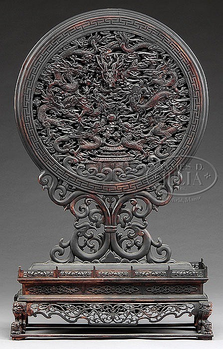 FINE CHINESE CARVED DRAGON TABLE SCREEN.