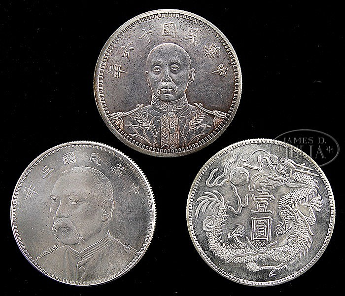THREE CHINESE SILVER DOLLAR COINS.