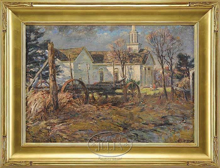 FREDERICK LESTER SEXTON (American, 1889-1975) CONNECTICUT CHURCH IN SPRINGTIME