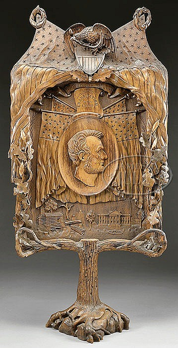 IMPORTANT AND UNIQUE CARVED LINCOLN COMMEMORATIVE FLOOR SCREEN.