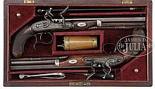 CASED PAIR OF WILLIAM CHANCE FLINTLOCK DUELER/ HOLSTER PISTOLS WITH ACCESSORIES.