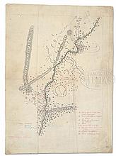 FABULOUS RARE AND HISTORIC UNIQUE EARLY 1877 HAND DRAWN MAP OF THE CUSTER BATTLEFIELD BY WILLIAM PHILO CLARK.