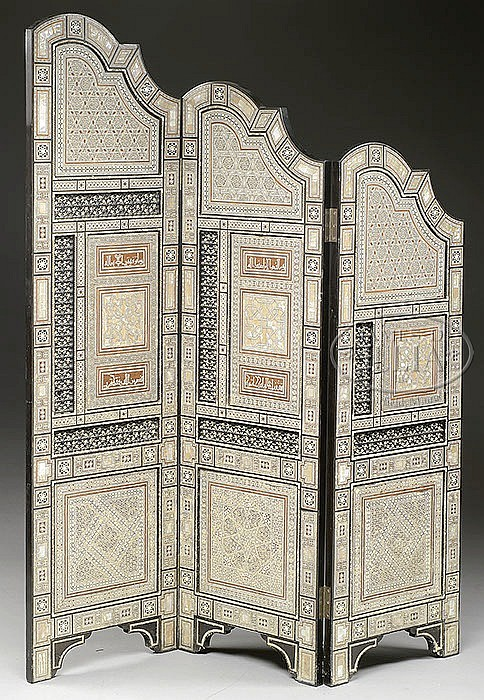 FINE AND ORNATE MICRO MOSAIC DRESSING SCREEN.