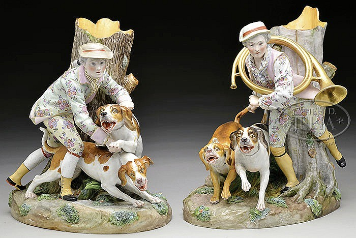PAIR OF LARGE HUNTER WITH DOGS SPILL VASES.
