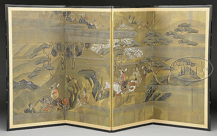 FOUR PANEL FOLDING SCREEN.