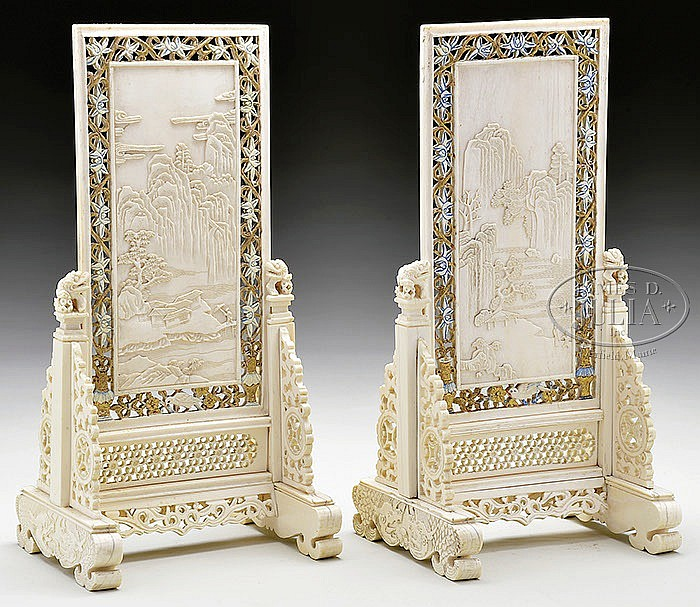 PAIR OF IVORY TABLE SCREENS.