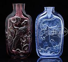 TWO PEKING GLASS SNUFF BOTTLES.