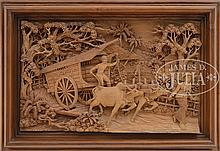CARVED WOODEN PLAQUE.