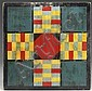 EXCEPTIONAL POLYCHROME PAINTED PARCHEESI GAME BOARD.
